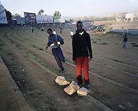 A runner in Meskal Square, in Ethiopia's capital Addis Ababa on Tuesday October 27, 2009.