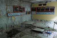 In the gymnasium of School #2 in Pripyat.<br />