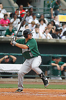 Augusta GreenJackets catcher John Riley (38) at bat during a game against the Charleston Riverdogs at Joseph P.Riley Jr. Ballpark on April 15, 2015 in Charleston, South Carolina. Charleston defeated Augusta 8-0. (Robert Gurganus/Four Seam Images)