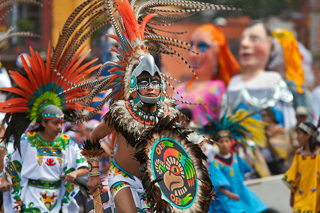 INDIGENOUS DANCE TROUPES from all over MEXICO parade through the streets in celebration of San Miguel Arcangel, the patron saint of SAN MIGUEL DE ALLENDE each October