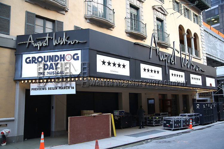 """Theatre Marquee for """"Groundhog Day'' during the opening day box office at The August Wilson Theatre on February 2, 2017 in New York City."""