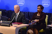 """(L-R) United States Vice President Joe Biden and US Attorney General Loretta Lynch attend the """"Leader's Summit on Countering ISIL and Countering Violent Extremism"""" at the United Nations Headquarters, New York, New York on September 29, 2015. <br /> Credit: Anthony Behar / Pool via CNP"""