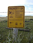 Waterfowl area conservation sign, Saskatchewan, Canada - multi use management