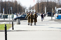 Polish soldiers marching in Warsaw, Poland on April 1, 2016.