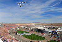 Mar. 1, 2009; Las Vegas, NV, USA; The U.S. Airforce Thunderbirds perform a fly over prior to the Shelby 427 at Las Vegas Motor Speedway. Mandatory Credit: Mark J. Rebilas-