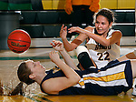 JANUARY 30, 2015 -- Chelsey Biegler #22 of Black Hills State and Kaycee Hert #33 of Regis University scramble for a loose ball during their Rocky Mountain Athletic Conference women's basketball game Friday evening at the Donald E. Young Center in Spearfish, S.D.  (Photo by Dick Carlson/Inertia)
