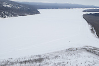 A dog team on the Yukon river between Grayling and Eagle Island    Iditarod 2009