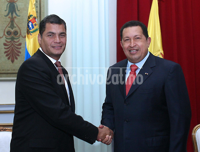 Presidents of Ecuador, Rafael Correa, and Venezuela, Hugo Chavez, during a meeting at Miraflores Palace in Caracas. Both presidents broke relations with Colombia after an army squad of that country entered Ecuador soil and killed FARC guerrilla leader Raul Reyes last Saturday, March 1, 2008.