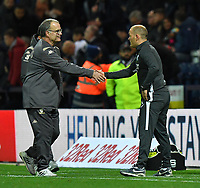Preston North End's Manager Alex Neil and Leeds United's Manager Marcelo Bielsa shake hands at the final whistle<br /> <br /> Photographer Dave Howarth/CameraSport<br /> <br /> The EFL Sky Bet Championship - Preston North End v Leeds United - Tuesday 22nd October 2019 - Deepdale Stadium - Preston<br /> <br /> World Copyright © 2019 CameraSport. All rights reserved. 43 Linden Ave. Countesthorpe. Leicester. England. LE8 5PG - Tel: +44 (0) 116 277 4147 - admin@camerasport.com - www.camerasport.com