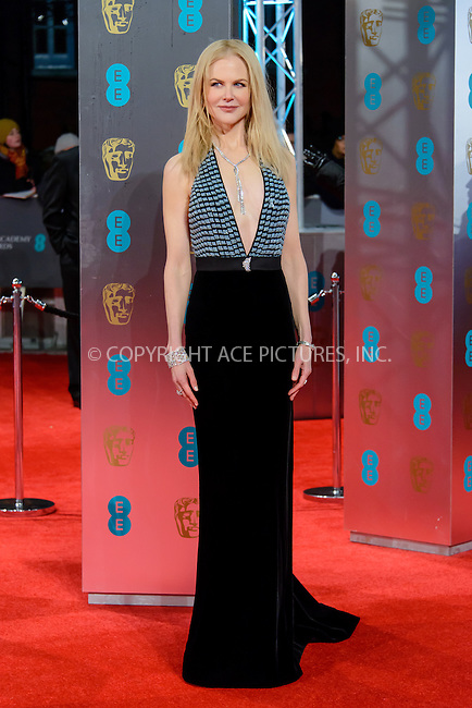 www.acepixs.com<br /> <br /> February 12 2017, London<br /> <br /> Nicole Kidman arriving at the 70th EE British Academy Film Awards (BAFTA) at the Royal Albert Hall on February 12, 2017 in London, England<br /> <br /> By Line: Famous/ACE Pictures<br /> <br /> <br /> ACE Pictures Inc<br /> Tel: 6467670430<br /> Email: info@acepixs.com<br /> www.acepixs.com