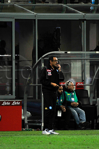 April 30th 2017, San Siro Stadium, Milan, Italy;  Maurizio Sarri head coach of Napoli gestures during the Serie A football match, Inter Milan versus Napoli;