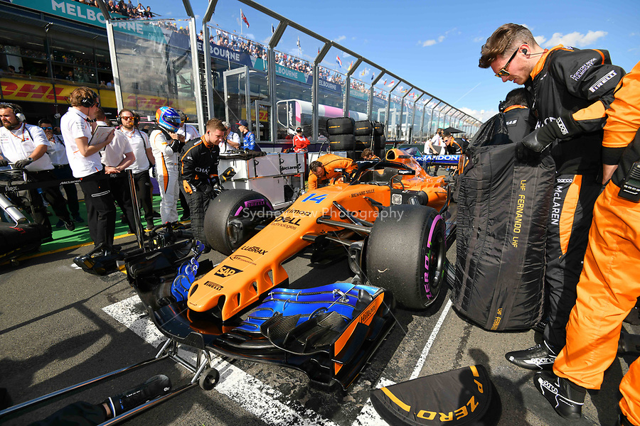 March 25, 2018: The car of Fernando Alonso (ESP) #14 from the McLaren F1 team on the grid prior to the start of the 2018 Australian Formula One Grand Prix at Albert Park, Melbourne, Australia. Photo Sydney Low