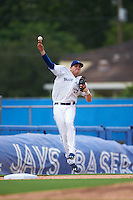 Dunedin Blue Jays third baseman Mitch Nay (28) jumps to throw to first during the first game of a doubleheader against the Palm Beach Cardinals on July 31, 2015 at Florida Auto Exchange Stadium in Dunedin, Florida.  Dunedin defeated Palm Beach 7-0.  (Mike Janes/Four Seam Images)