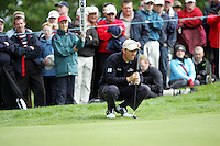 Padraig Harrington lines up his putt on the 11th green on during the third round of the Irish Open on 19th of May 2007 at the Adare Manor Hotel & Golf Resort, Co. Limerick, Ireland. (Photo by Eoin Clarke/NEWSFILE
