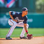 11 March 2016: Atlanta Braves infielder Johan Camargo in action during a Spring Training pre-season game against the Philadelphia Phillies at Champion Stadium in the ESPN Wide World of Sports Complex in Kissimmee, Florida. The Phillies defeated the Braves 9-2 in Grapefruit League play. Mandatory Credit: Ed Wolfstein Photo *** RAW (NEF) Image File Available ***