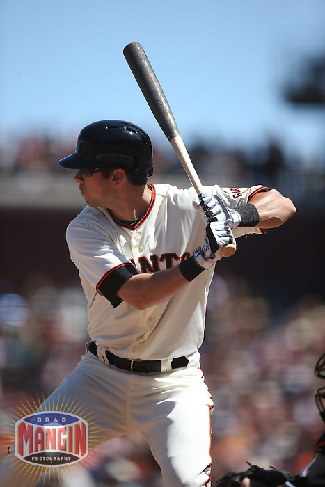 SAN FRANCISCO, CA - MAY 18:  Tyler Colvin #10 of the San Francisco Giants bats against the Miami Marlins during the game at AT&T Park on Sunday, May 18, 2014 in San Francisco, California. Photo by Brad Mangin