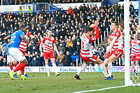 Omar Bogle of Portsmouth left scores to make the score 1-1  during Portsmouth vs Doncaster Rovers, Sky Bet EFL League 1 Football at Fratton Park on 2nd February 2019