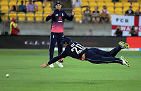 Jason Roy dives for the ball during the One Day International cricket match between the New Zealand Black Caps and England at the Westpac Stadium in Wellington, New Zealand on Friday, 2 March 2018. Photo: Dave Lintott / lintottphoto.co.nz