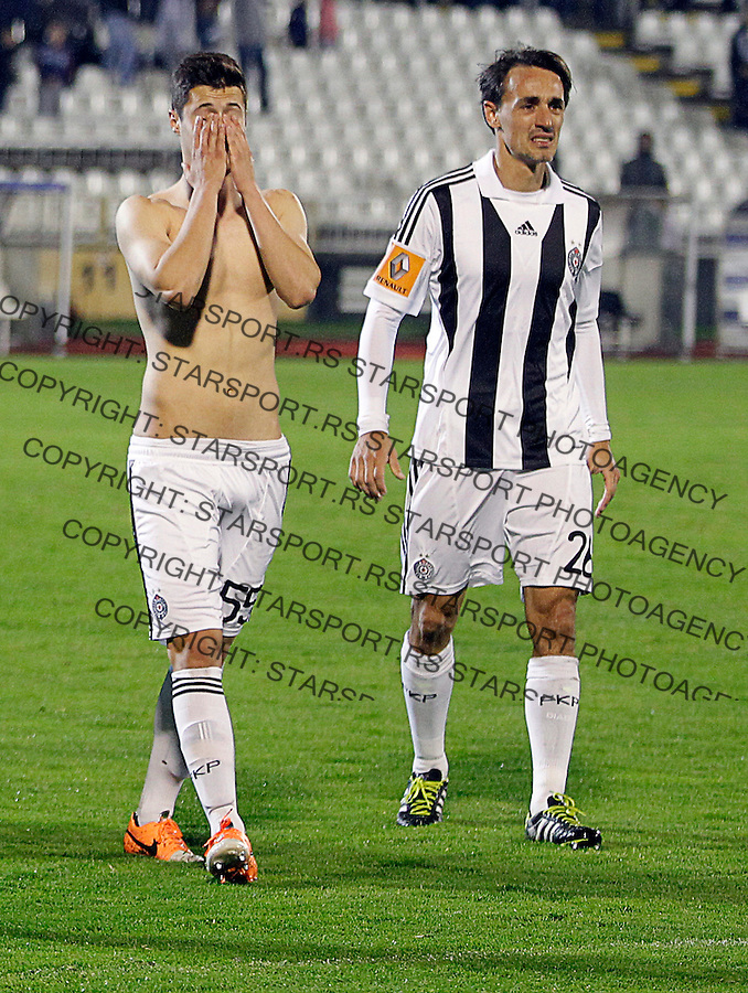 Danilo Pantic i Milan Obradovic Jelen superliga, Partizan - Vojvodina 5.4.2014. (credit image & photo: Pedja Milosavljevic / STARSPORT / +318 64 1260 959 / thepedja@gmail.com)