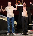 "Paul Dano and Ethan Hawke during the Broadway Opening Night Curtain Call for the Roundabout Theatre Production of ""True West"" at the American Airlines Theatre on January 24, 2019 in New York City."