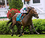 LOUISVILLE, KENTUCKY, MAY 05: Yoshida (JPN), #9, ridden by Jose Ortiz, wins the Old Forester Turf Classic on Kentucky Derby Day at Churchill Downs on May 5, 2018 in Louisville, Kentucky. ( Photo by Sue Kawczynski/Eclipse Sportswire/Getty Images)