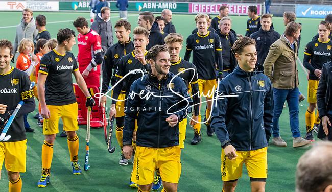 AMSTELVEEN - Vreugde bij Den Bosch   na de competitie hoofdklasse hockeywedstrijd mannen, Amsterdam- Den Bosch (2-3).  . COPYRIGHT KOEN SUYK