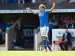 St Johnstone v Hearts...04.08.13 SPFL<br /> Stevie May celebrates his goal<br /> Picture by Graeme Hart.<br /> Copyright Perthshire Picture Agency<br /> Tel: 01738 623350  Mobile: 07990 594431