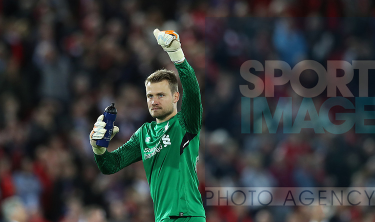 Simon Mignolet of Liverpool celebrates after the Champions League playoff round at the Anfield Stadium, Liverpool. Picture date 23rd August 2017. Picture credit should read: Lynne Cameron/Sportimage