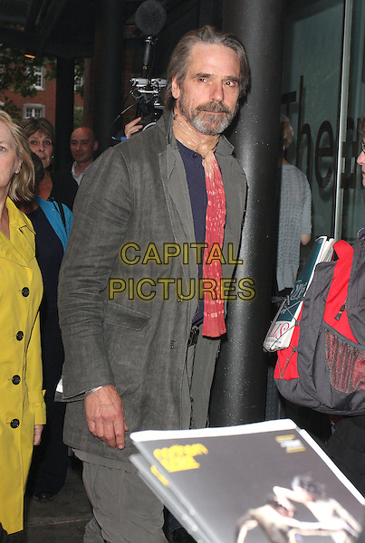 JEREMY IRONS .Press Night for Northern Ballet's 'Cleopatra' at Sadlers Wells, London, England, UK, May 17th 2011..half length grey gray  red beige scarf beard facial hair  jacket .CAP/ROS.©Steve Ross/Capital Pictures