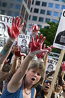 A downtown Toronto rally against the appearance of US presidential war criminals George W Bush and Bill Clinton at the Toronto Convention Centre, May 29 2009