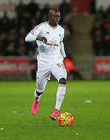 Modou Barrow of Swansea during the Barclays Premier League match between Swansea City and Leicester City at the Liberty Stadium, Swansea on December 05 2015
