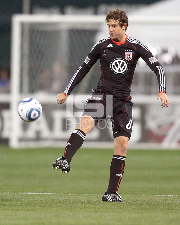Carey Talley #8 of D.C. United during an MLS match against the Chicago Fire on April 17 2010, at RFK Stadium in Washington D.C. Fire won 2-0.