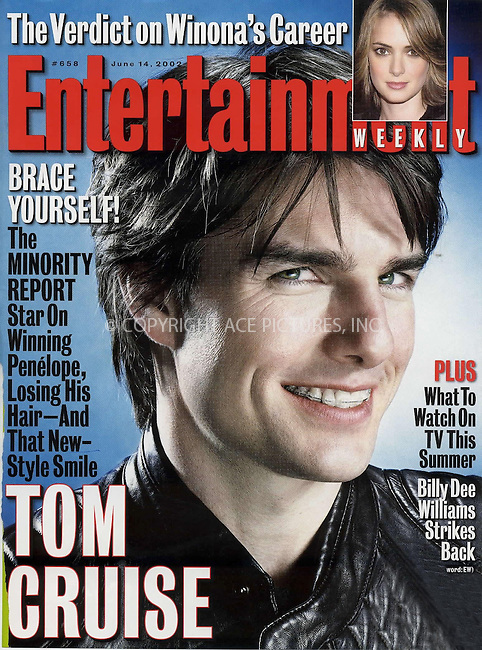 "Cover of ""Entertainment Weekly"" which featured Tom Cruise wearing braces. Ref: TVSL0001. No reproduction rights granted or implied. All rights reserved by copyright holders. Supplied by NY Photo Press.   ....NY Photo Press:  ..phone (646) 267-6913;   ..e-mail: info@nyphotopress.com"