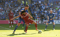 Liverpool's Mohamed Salah battles with Cardiff City's Sean Morrison<br /> <br /> Photographer Ian Cook/CameraSport<br /> <br /> The Premier League - Cardiff City v Liverpool - Sunday 21st April 2019 - Cardiff City Stadium - Cardiff<br /> <br /> World Copyright © 2019 CameraSport. All rights reserved. 43 Linden Ave. Countesthorpe. Leicester. England. LE8 5PG - Tel: +44 (0) 116 277 4147 - admin@camerasport.com - www.camerasport.com