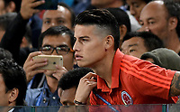 MOSCU - RUSIA, 03-07-2018: James RODRIGUEZ jugador de Colombia mira el encuentro desde la tribun durante partido de octavos de final entre Colombia y Inglaterra por la Copa Mundial de la FIFA Rusia 2018 jugado en el estadio del Spartak en Moscú, Rusia. / James RODRIGUEZ player of Colombia looks from the tribune during the match between Colombia and England of the round of 16 for the FIFA World Cup Russia 2018 played at Spartak stadium in Moscow, Russia. Photo: VizzorImage / Julian Medina / Cont