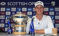 With a cup of tea, and the trophy, Brandon Stone (RSA) wins the Final Round of the ASI Scottish Open 2018, at Gullane, East Lothian, Scotland.  15/07/2018. Picture: David Lloyd | Golffile.<br /> <br /> Images must display mandatory copyright credit - (Copyright: David Lloyd | Golffile).