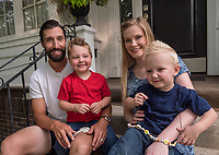 From left are; Brad Burton, Clarke, 4, Ali Burton and Montgomery, 2.