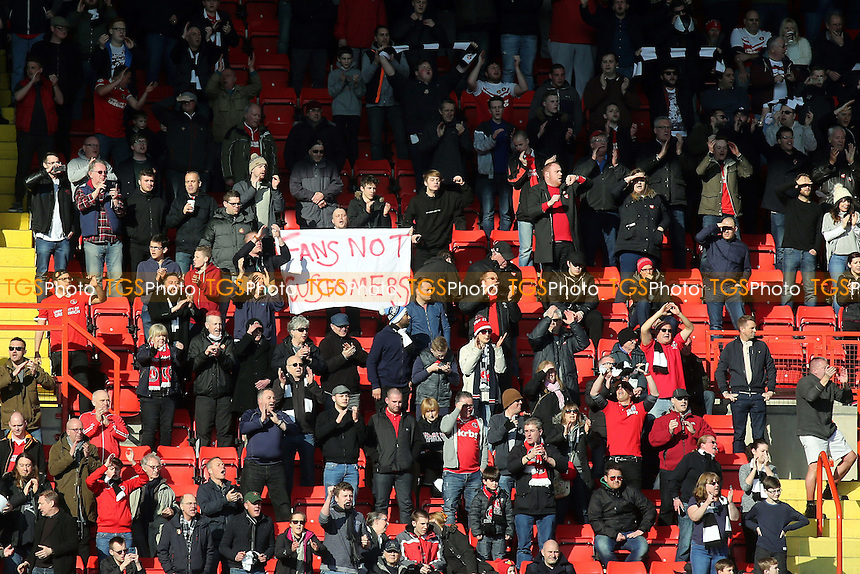 Charlton fans protest at the start of the match during Charlton Athletic vs Middlesbrough, Sky Bet Championship Football at The Valley on 13th March 2016