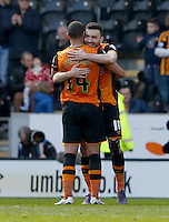 Hull City v Bristol City 2.4.16 .Sky Bet Championship ....... Hulls robert snodgrass celebrates with team mate jake Livermore