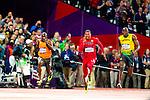 Engeland, London, 4 Augustus 2012.Olympische Spelen London.Finale 100 meter Mannen .Usain Bolt uit Jamaica wint de finale van de 100 meter .Churandy Martina (l) wordt zesde