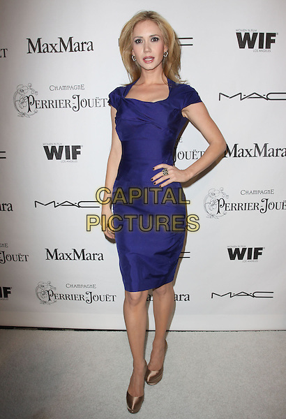 ASHLEY JONES.3rd Annual Women In Film Pre-Oscar Party held At A Private Residence, Bel Air, California, USA..March 4th, 2010.full length blue dress peach silk satin pink shoes platform purple hand on hip.CAP/ADM/KB.©Kevan Brooks/AdMedia/Capital Pictures.