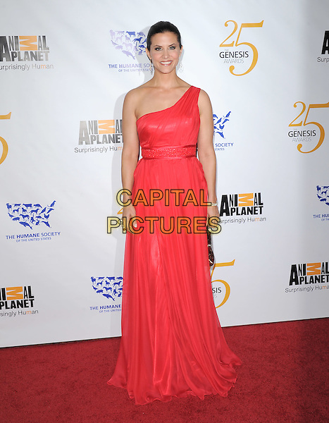 LU PARKER .at The Humane Society of The United States celebration of The 25th Anniversary Genesis Awards in Beverly Hills, California, USA, .March 19th 2011..full length one shoulder red long maxi dress                                                                        .CAP/RKE/DVS.©DVS/RockinExposures/Capital Pictures.
