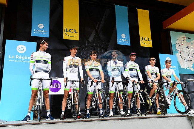 Fortuneo-Samsic team introduced on stage at sign on before Stage 1 of the 2018 Criterium du Dauphine 2018 running 179km from Valence to Saint-Just-Saint-Rambert, France. 4th June 2018.<br /> Picture: ASO/Alex Broadway | Cyclefile<br /> <br /> <br /> All photos usage must carry mandatory copyright credit (© Cyclefile | ASO/Alex Broadway)