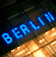 "Neon Illuminated ""Berin"" sign, Berlin, Germany (out of focus)"