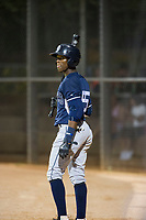 AZL Padres shortstop Jordy Barley (55) on deck against the AZL White Sox on July 31, 2017 at Camelback Ranch in Glendale, Arizona. AZL White Sox defeated the AZL Padres 2-1. (Zachary Lucy/Four Seam Images)