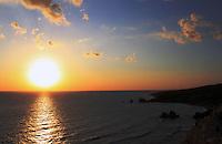 Stock image of beautiful sunset at Aphrodite's rock Petra Tou romiou Cyprus.