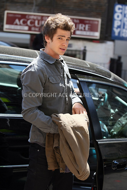 WWW.ACEPIXS.COM . . . . .  ....May 9 2011, New York City....Actor Andrew Garfield who is playing Spiderman in the latest movie of the series, arrives on set on the Upper West Side on May 9 2011 in New York City....Please byline: PHILIP VAUGHAN - ACE PICTURES.... *** ***..Ace Pictures, Inc:  ..Philip Vaughan (212) 243-8787 or (646) 679 0430..e-mail: info@acepixs.com..web: http://www.acepixs.com