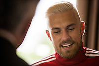 Aaron Ramsey during a Wales media day ahead of the final pre Euro 2016 friendly match against Sweden, Vale Resort, Hensol, Wales on 1 June 2016. Photo by Mark  Hawkins / PRiME Media Images / PRiME Media Images.