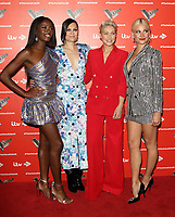 AJ Odudu, Jessie J, Emma Willis and Pixie Lott at the Voice Kids UK 2019 Photocall held at The Royal Society of Arts, London on June 6th 2019<br /> CAP/ROS<br /> ©ROS/Capital Pictures