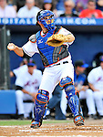 28 February 2011: New York Mets catcher Mike Nickeas in action against the Washington Nationals at Digital Domain Park in Port St. Lucie, Florida. The Nationals defeated the Mets 9-3 in Grapefruit League action. Mandatory Credit: Ed Wolfstein Photo